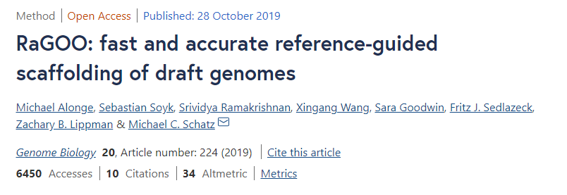 使用RaGOO将基因组提升至染色体水平